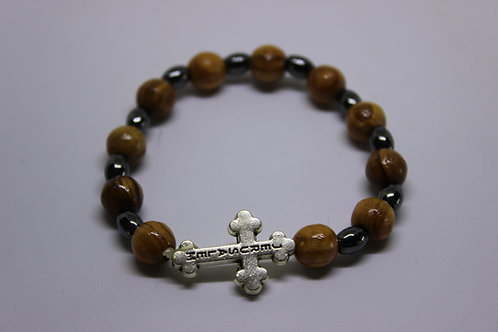olive wood bracelets with ameitest stones and metal cross