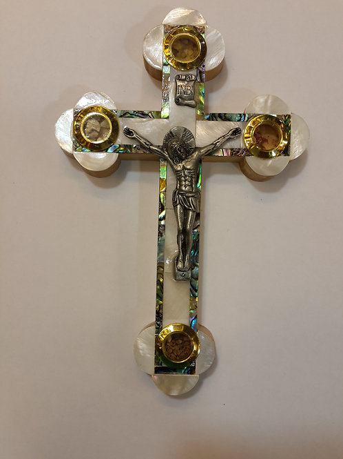 Mother of pearl cross with olive wood back ground