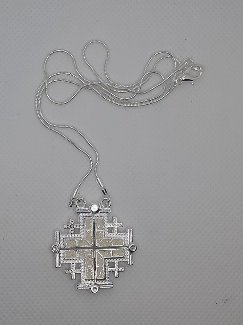 Jerusalem cross pendant open plated silver with 50cm chain colour white