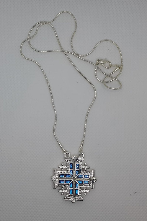 Jerusalem cross pendant open plated silver with 50cm chain colour tourqoz