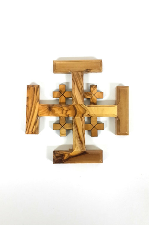 Jerusalem cross  olive wood 11cm