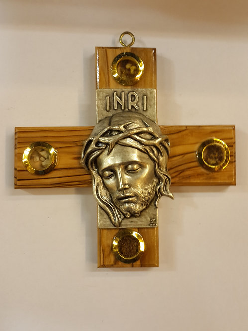 Olive wood cross with face of jesus