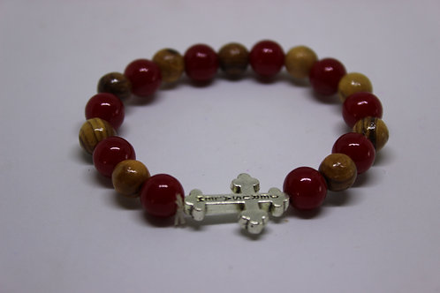 Olive wood bracelets with red bead and metal cross