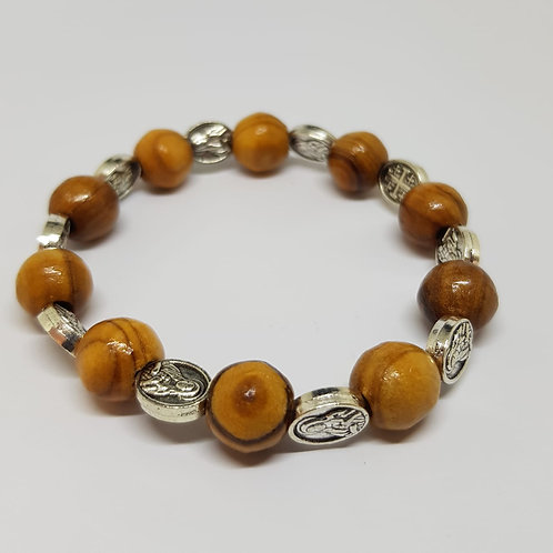 olive wood bracelete with metal icons