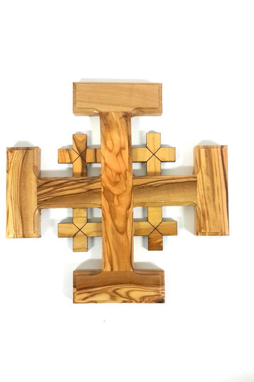 Jerusalem cross olive wood 16 cm