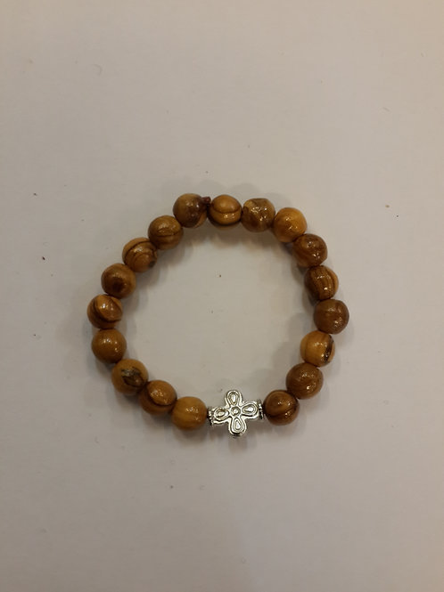 Olive wood with metal cross Bracelet
