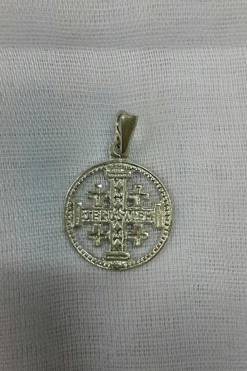 Round silver Jerusalem cross