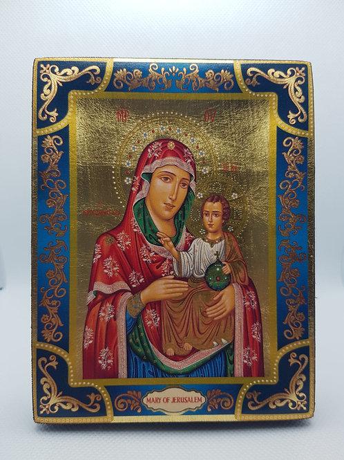 Virgin Mary of Jerusalem gold sheet icon size13*10cm