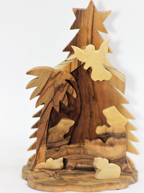 Olive wood nativity set 10cm