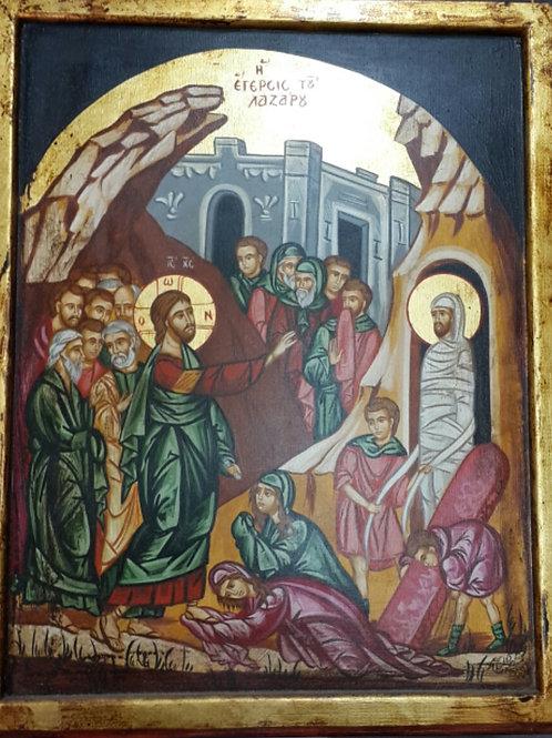 icon of jesus waking up Aliazar from death