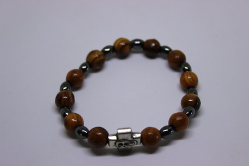 olive wood bracelets with ametiset stones and aianores cross