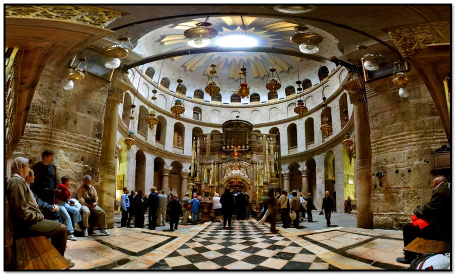 Inside the church of Holy Sepulchre