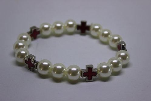 plastic pearl with red small cross