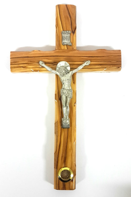 Olive wood cross with earth 25 cm  PA106