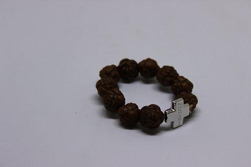 Dark brown finger or travel rosary 10 beads