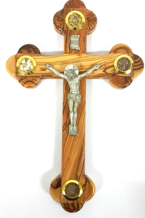Olive wood cross with 4 souvenirs 25cm PA 101