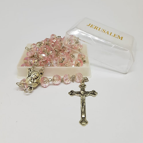 Light Rose Crystal Rosary