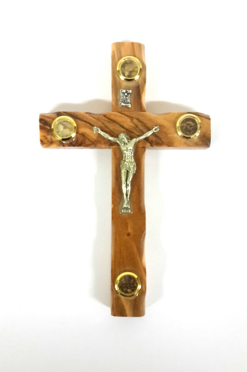 Olive wood cross with 4 souvenirs 12 cm PA129