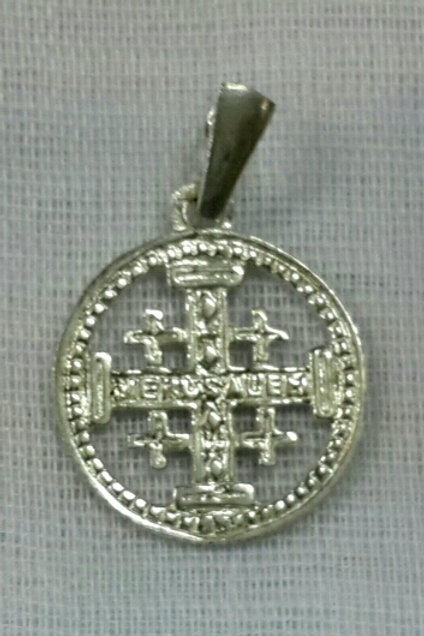 Round silver Jerusalem cross
