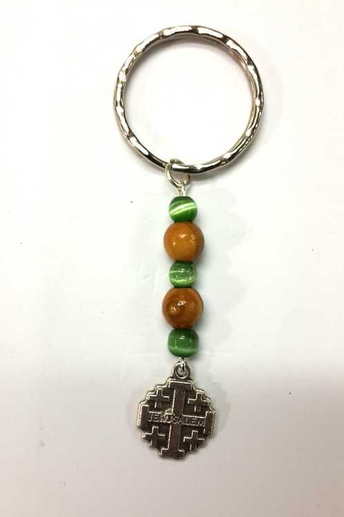 Key Holder Olive wood and green beads
