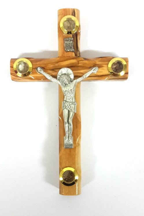 Olive wood cross with 4 souvenirs 16 cm  PA121