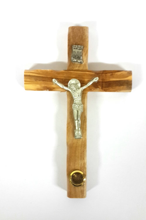 Olive wood cross with earth 12cm PA130