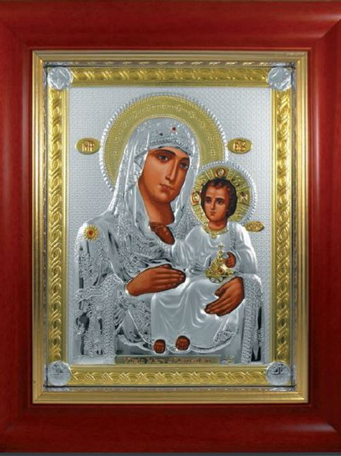 Virgin Mary of Jerusalem with glass