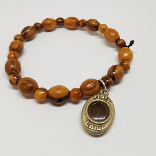 olive wood bracelete with earth from holy land