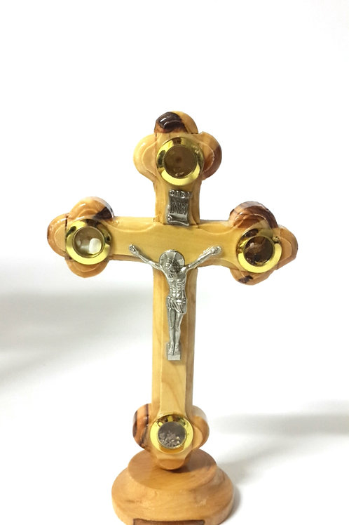 olive wood cross with stand 12cm