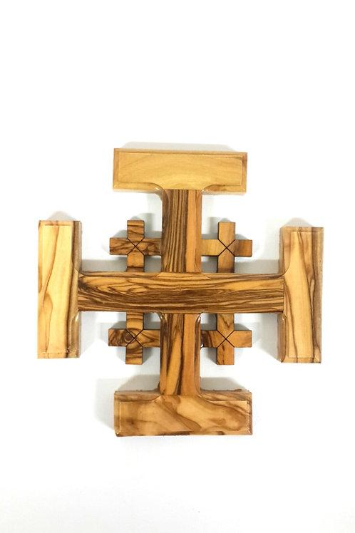 Jerusalem cross olive wood 13cm