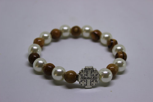 Metal jerusalem cross with olive wood and plastic white beads