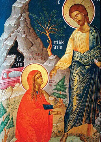 Mary magdalena icon with jesu