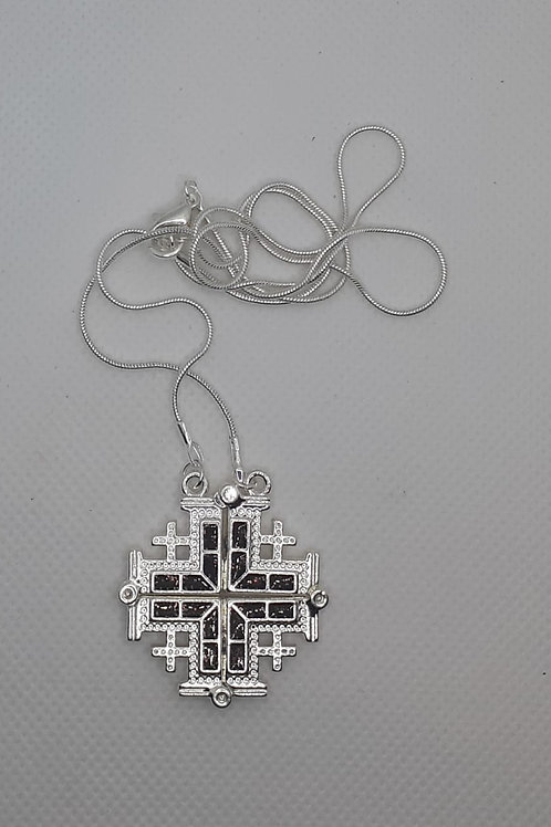 Jerusalem cross pendant open plated silver with 50cm chain colour black