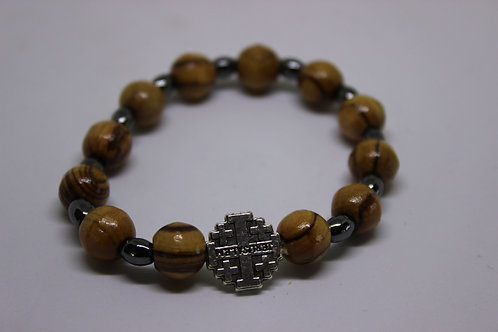 olive wood braceltes with ametist stone and metal jerusalem cross