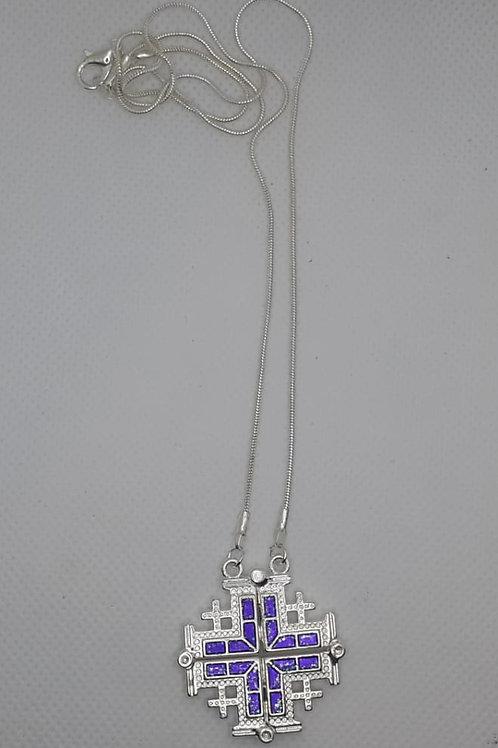 Jerusalem cross pendant open plated silver with 50cm chain colour blue