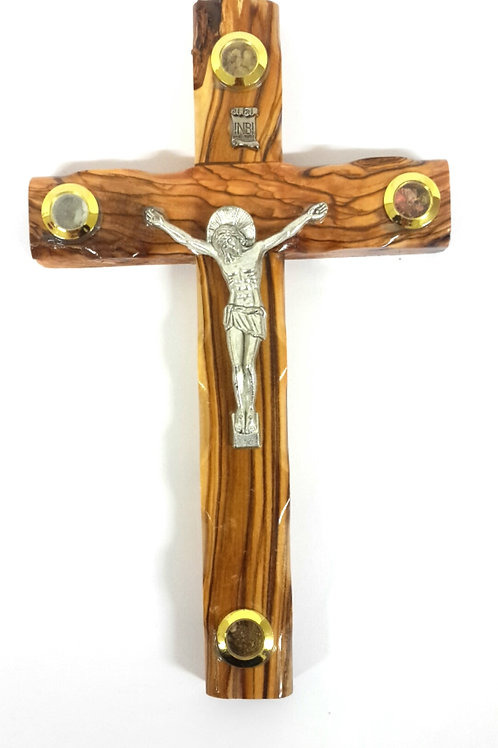 Olive wood cross with 4 souviners 20 cm PA113