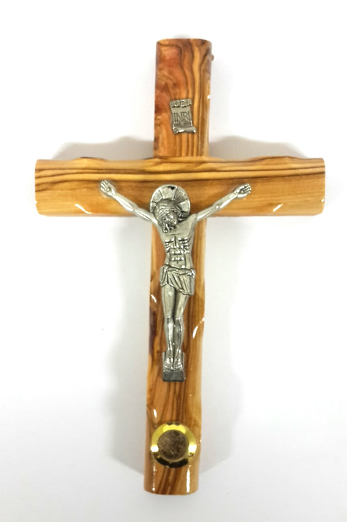 Olive wood cross with earth 16 cm PA122