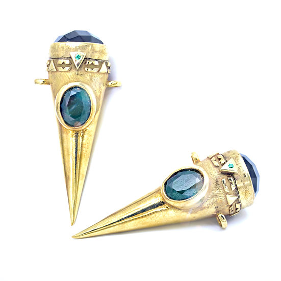 Gold Plated Massive Treasure Keeper -Onyx & Emerald