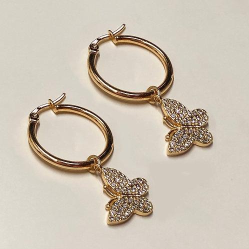 Butterfly small hoop earrings