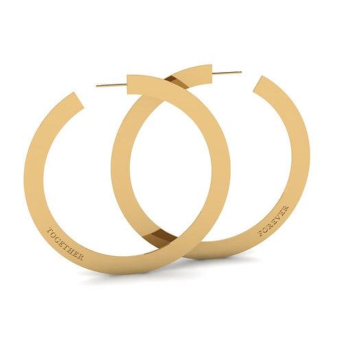 "gold 3"" together forever hoop earrings"