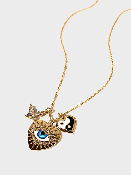 Evil eye yin yang butterfly necklace
