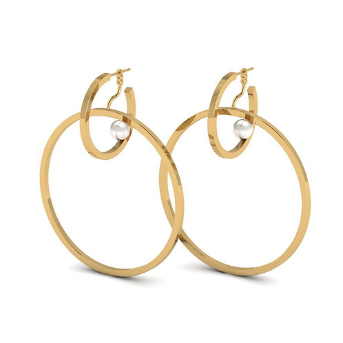 gold double hoop earrings with pearls