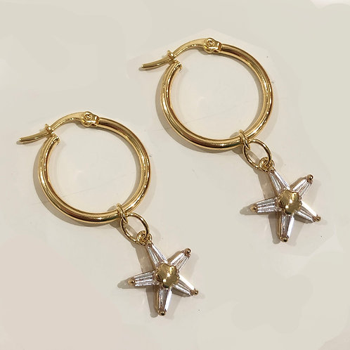 starfish small hoop earrings