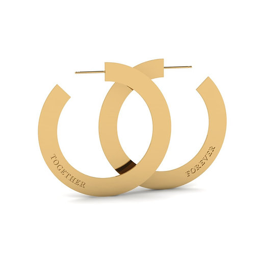 "gold 2"" together forever hoop earrings"