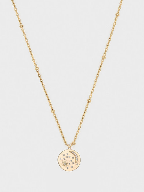 Love u 2 moon & back pendant