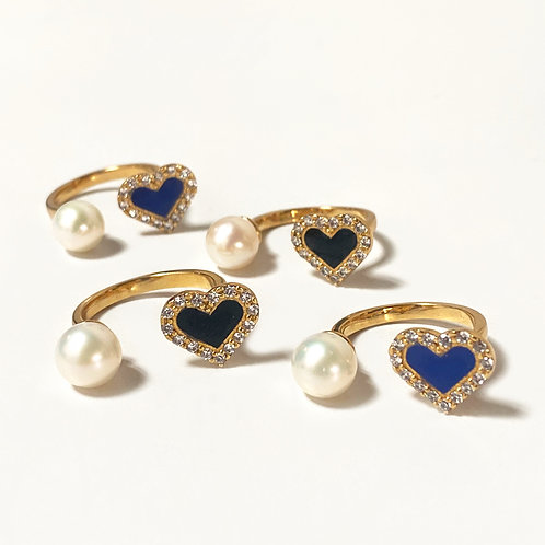 Pearl heart cz ring