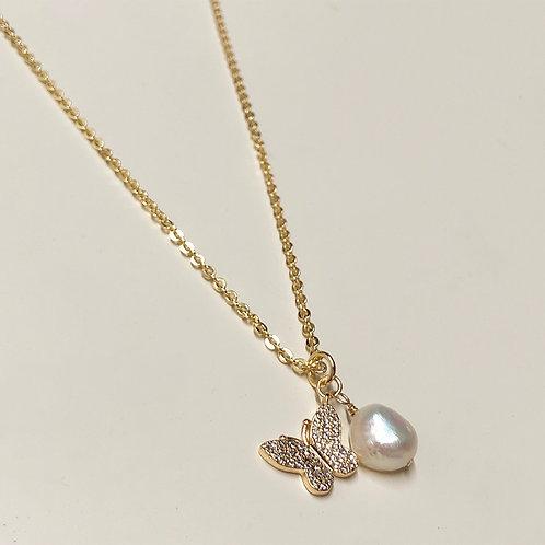 Butterfly pearl pendant