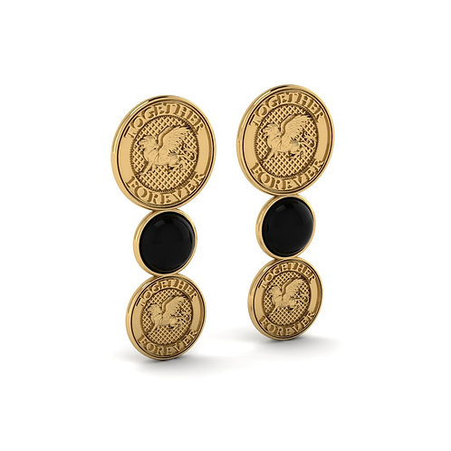 onyx coin lion earrings