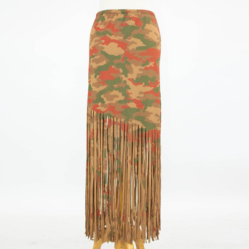 Camouflage Print Skirt With Fringe
