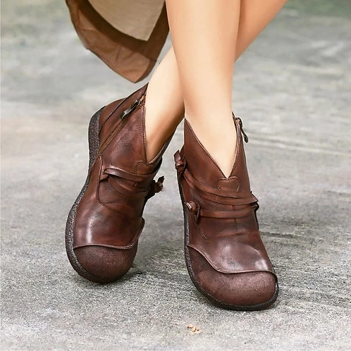 """Charlie""  Retro Leather Ankle Boots"